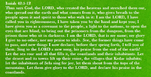 Isaiah 42 5 to 12