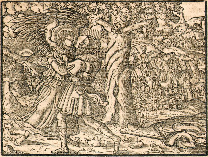 Jacob Wrestling with Angel - Wutenberg_Bibel_1558