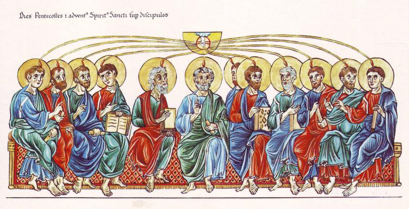 Hortus_Deliciarum _Pfingsten_und_die_Aussendung_des_Heiligen_Geistes_auf_die_Apostel