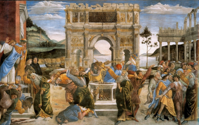 Stoned - Botticcelli _Sandro_-_The_Punishment_of_Korah_and_the_Stoning_of_Moses_and_Aaron_-_1481-82