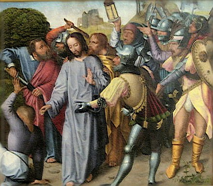 'The_Arrest_of_Christ' _oil_on_panel_painting_by_the_Master_of_the_Evora_Altarpiece _c._1500 _Museu_de_Évora _Portugal