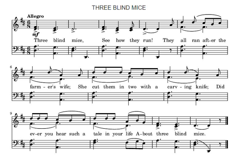 Three blind mice score